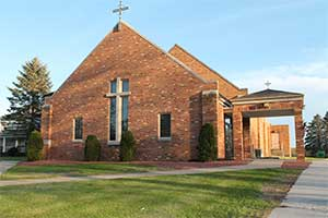 The outside of the Church of St. Max Kolbe